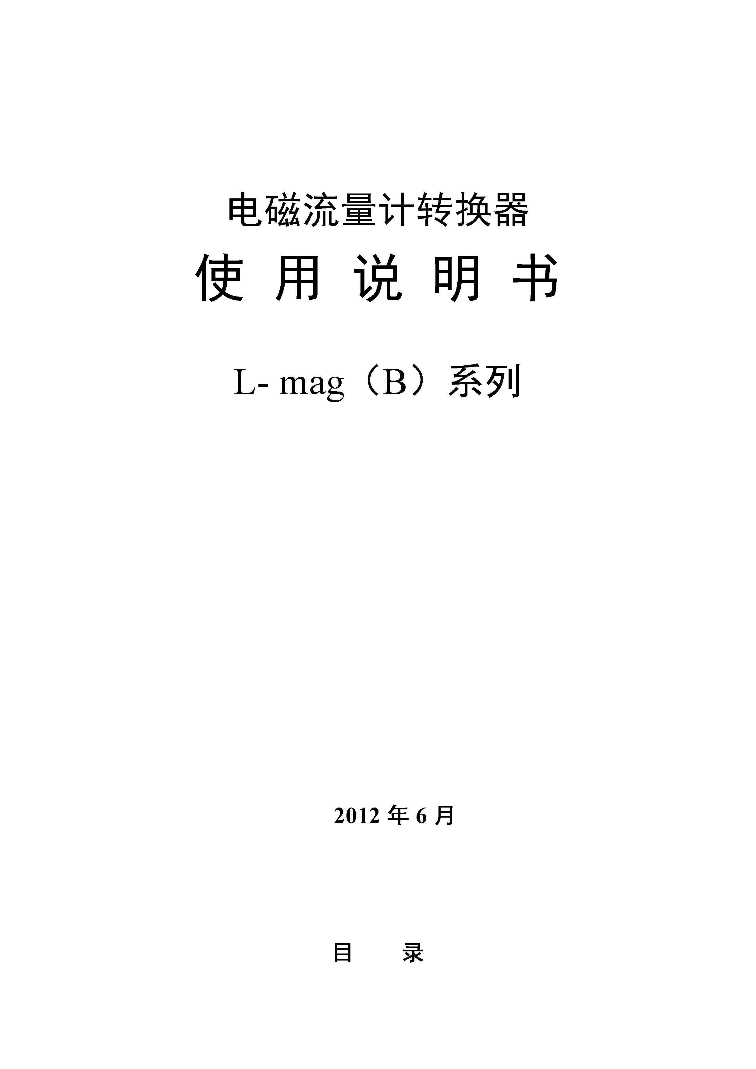电磁流量转换器(L-mag)B系列(中文)说明书