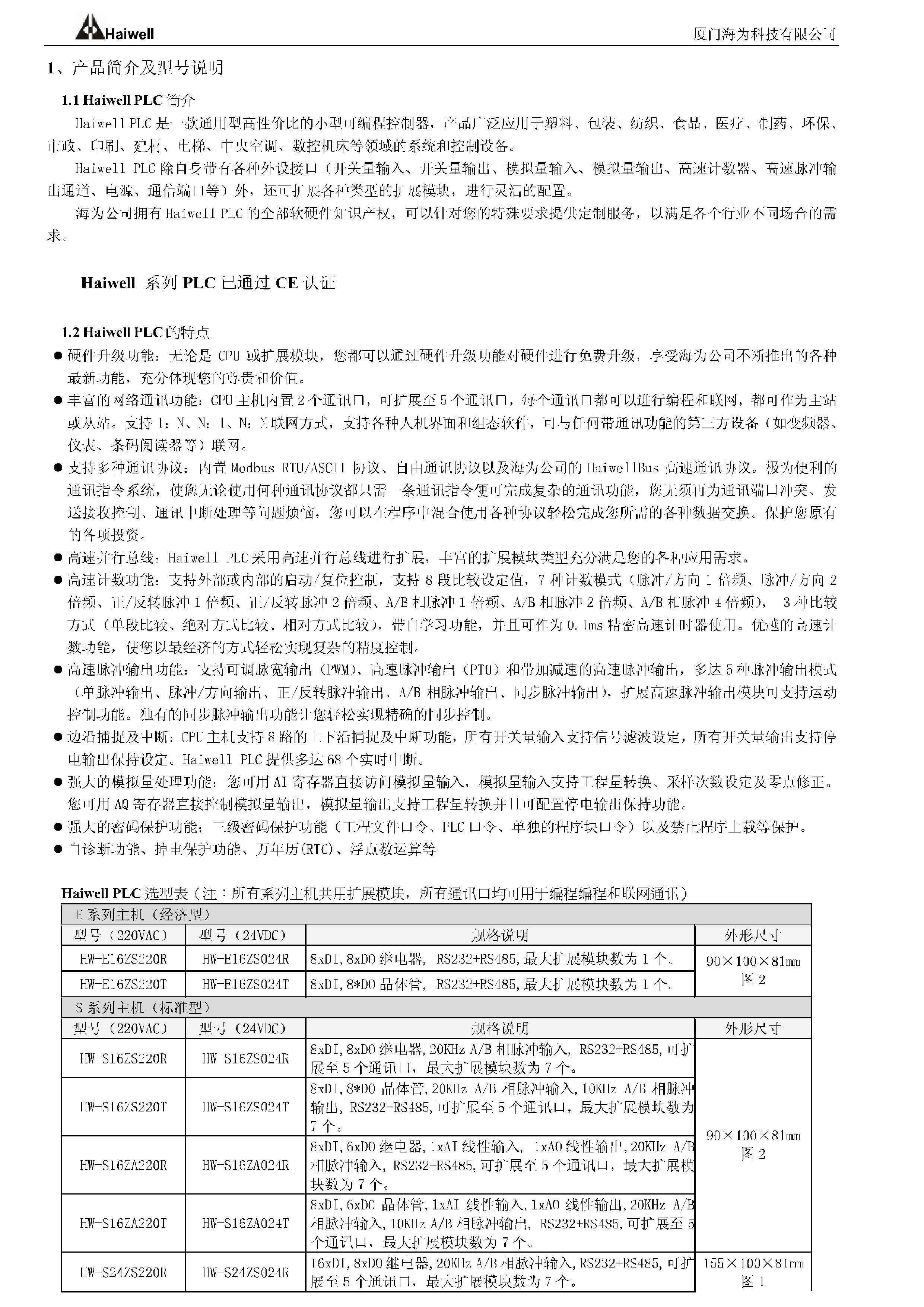 Haiwell_PLC选型手册